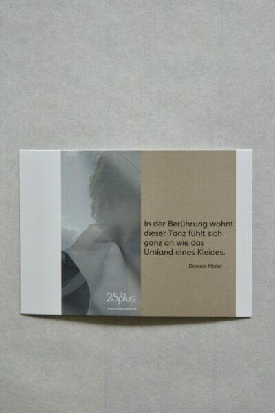 Postkarten GEMEINSAM KLEIDSAM - Lyrik von Daniela Hodel für 25° plus Zürich